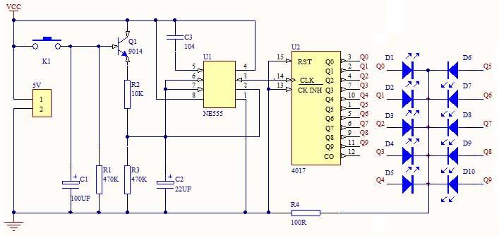 脉冲产生器由ne555及外围元件构成多谐振荡器,当按下按键k1时q1导通,n